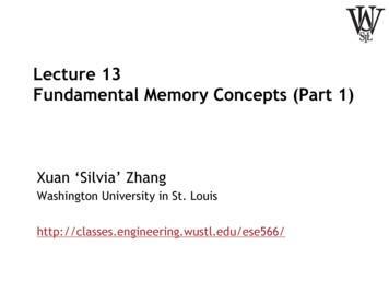 Lecture 13 Fundamental Memory Concepts (Part 1)