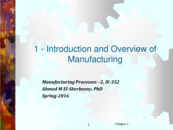 1 - Introduction and Overview of Manufacturing