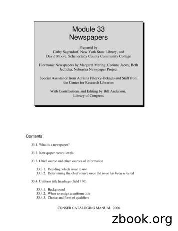 Module 33 Newspapers - Library of Congress