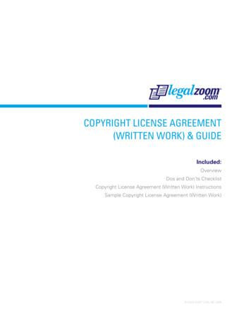 COPYRIGHT LICENSE AGREEMENT (WRITTEN WORK) & GUIDE