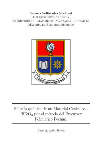 S ntesis qu mica de un Material Cer amico - BiFeO Polim .