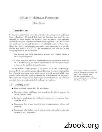 Lecture 5: Multilayer Perceptrons