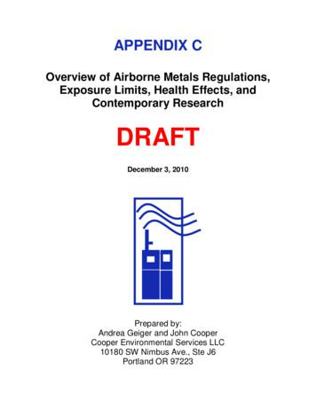 Overview of Airborne Metals Regulations, Contemporary .
