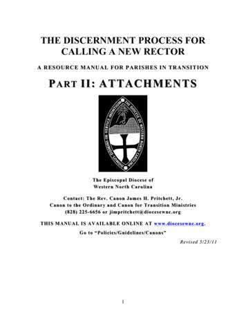 A RESOURCE MANUAL FOR PARISHES IN TRANSITION PART II .