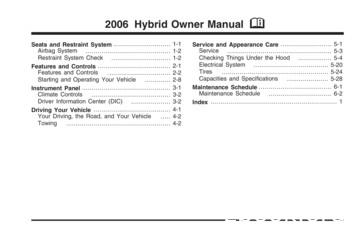2006 Hybrid Owner Manual M - GM Canada Owner Centre