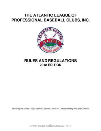 THE ATLANTIC LEAGUE OF PROFESSIONAL BASEBALL CLUBS, INC.