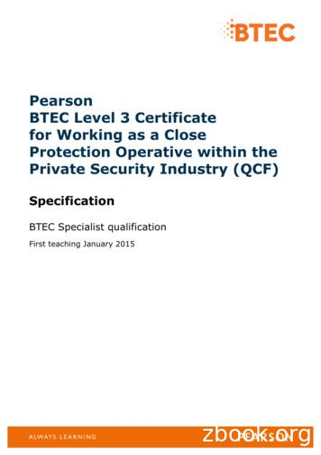 Pearson BTEC Level 3 Certificate for Working as a Close .