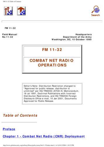 FM 11-32 COMBAT NET RADIO OPERATIONS - Survival School