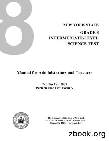 GRADE 8 INTERMEDIATE-LEVEL SCIENCE TEST Manual for .