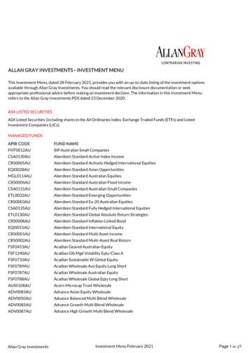 ALLAN GRAY INVESTMENTS - INVESTMENT MENU