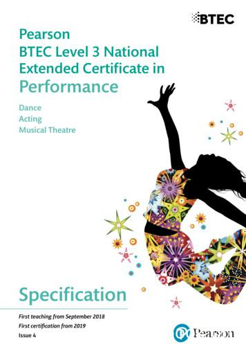 BTEC Level 3 National Extended Certificate in Performance