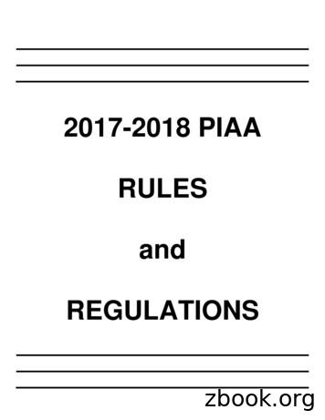2017-2018 PIAA RULES and REGULATIONS