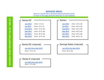 Series EE Series I SAVINGS BOND REDEMPTION VALUE TABLES
