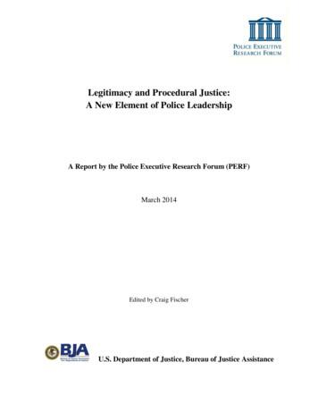 Legitimacy and Procedural Justice: A New Element of Police .