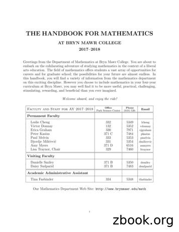 THE HANDBOOK FOR MATHEMATICS - Bryn Mawr College