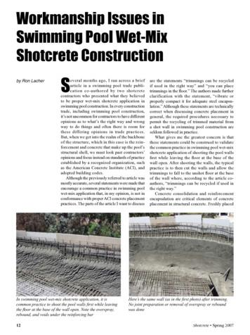 Workmanship Issues in Swimming Pool Wet-Mix Shotcrete .