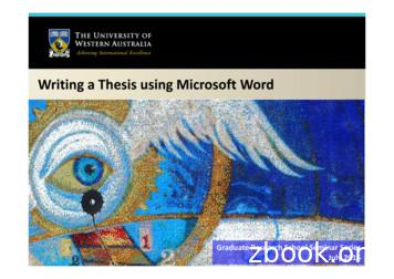 Writing a Thesis using Microsoft Word