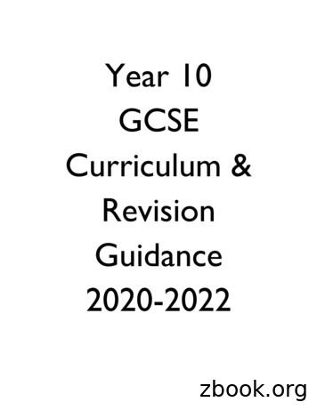Year 10 GCSE Curriculum & Revision Guidance 2020-2022