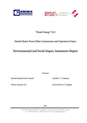 Environmental and Social Impact Assessment Report