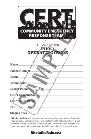 ALL-WEATHER FIELD OPERATING GUIDE N 573