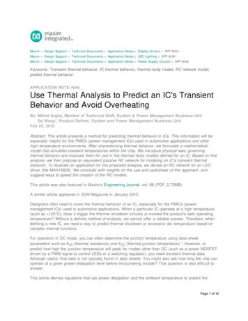 Use Thermal Analysis to Predict an IC's Transient Behavior .