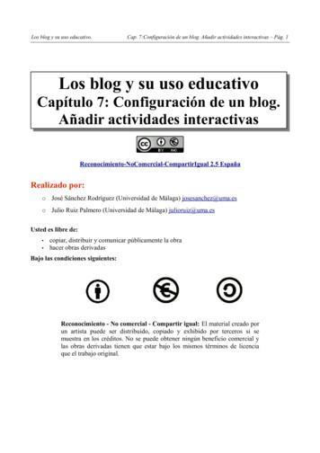 Capítulo 7: Configuración de un blog. Añadir actividades .