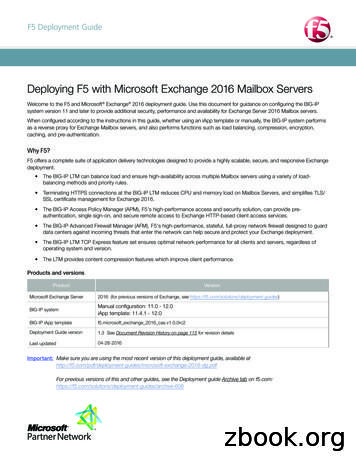 Deploying F5 with Microsoft Exchange 2016 Mailbox Servers