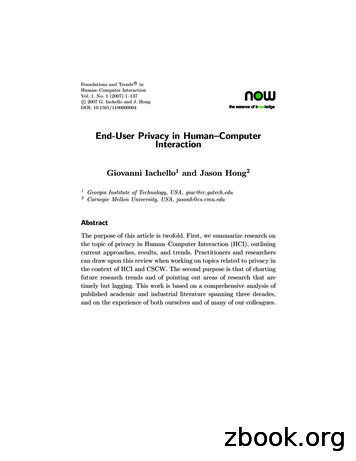 End-User Privacy in Human–Computer Interaction