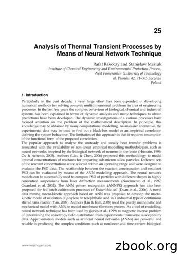 Analysis of Thermal Transient Processes by Means of Neural .