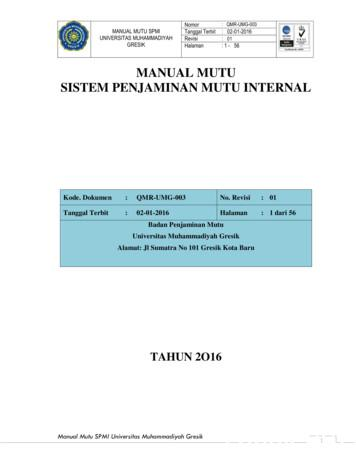 MANUAL MUTU SISTEM PENJAMINAN MUTU INTERNAL