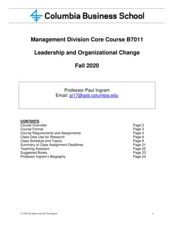 Management Division Core Course B7011 Leadership and .