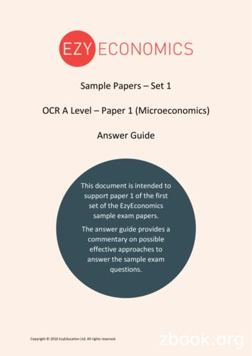 Sample Papers Set 1 OCR A Level Paper 1 (Microeconomics .