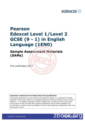 Pearson Edexcel Level 1/Level 2 GCSE (9 - 1) in English .