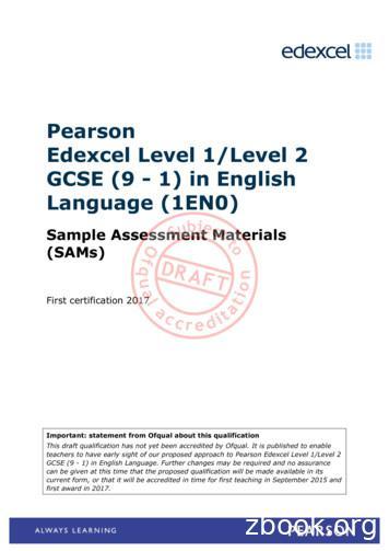 Pearson Edexcel Level 1/Level 2 GCSE (9 - 1) in English .