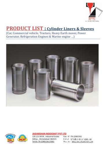PRODUCT LIST : Cylinder Liners & Sleeves