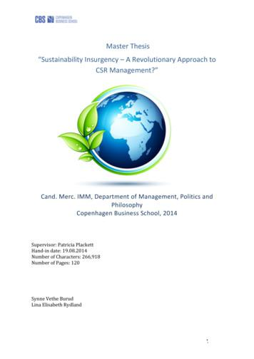 "!Master!Thesis! ""Sustainability!Insurgency!–!A ."