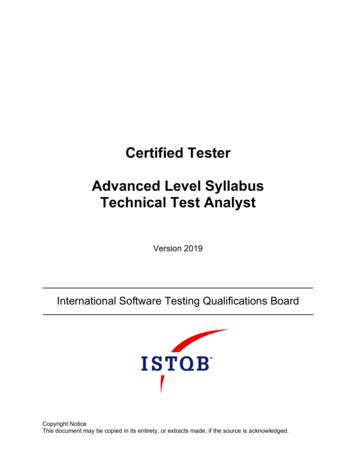 Certified Tester Advanced Level Syllabus Technical Test .