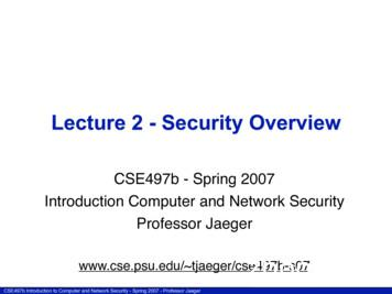 Lecture 2 - Security Overview
