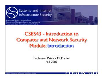 CSE543 - Introduction to Computer and Network Security .