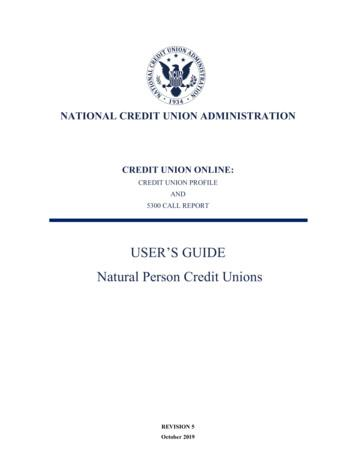 USER'S GUIDE Natural Person Credit Unions