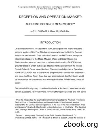 DECEPTION AND OPERATION MARKET - Tom Cubbage