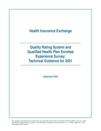 2021 QRS and QHP Enrollee Survey Technical Guidance
