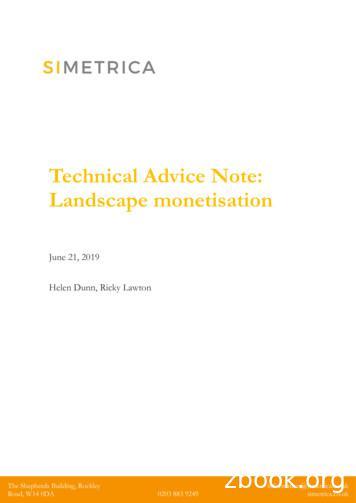 Technical advice note: landscape monetisation