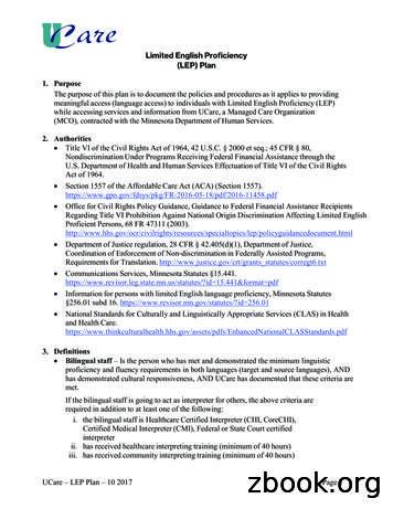 Limited English Proficiency (LEP) Plan