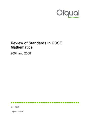 Review of Standards in GCSE Mathematics - GOV.UK