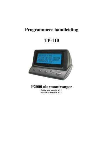 Programmeer handleiding TP-110 - SemafoonWinkel