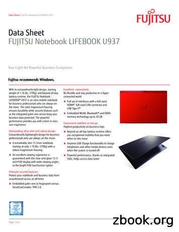 FUJITSU Notebook LIFEBOOK U937 datasheet