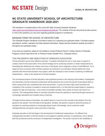 NC STATE UNIVERSITY SCHOOL OF ARCHITECTURE GRADUATE .