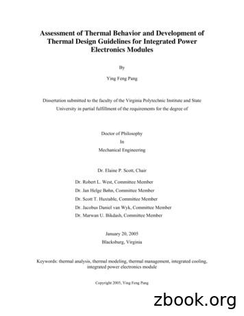 Assessment of Thermal Behavior and Development of Thermal .