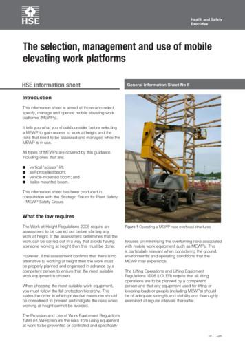 The selection, management and use of mobile elevating work .